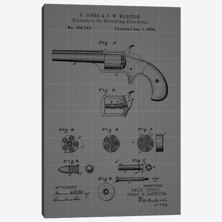 Extractors for Revolving Firearms, 1878- Blue 3-Piece Canvas #DSP113} by Dan Sproul Canvas Art