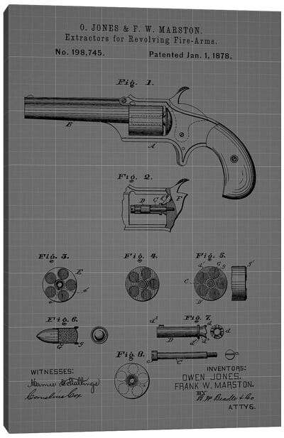 Extractors for Revolving Firearms, 1878- Blue Canvas Art Print