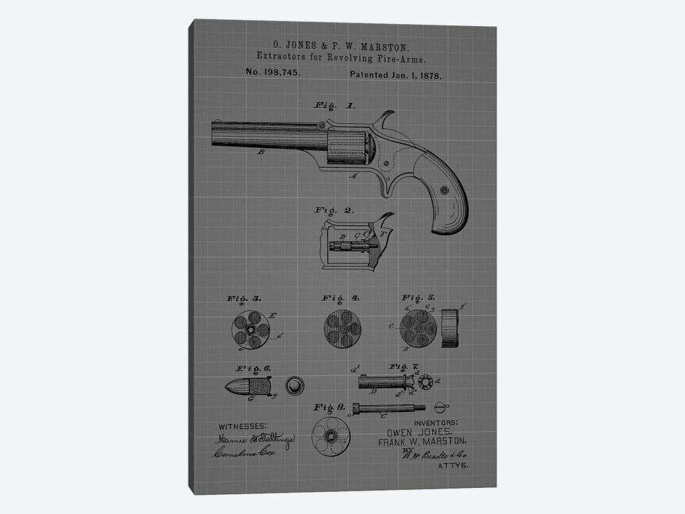 Extractors for Revolving Firearms, 1878- Blue by Dan Sproul 1-piece Canvas Artwork