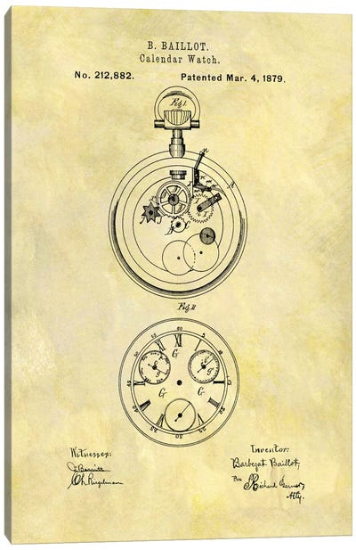 B. Baillot Calendar Watch Patent Sketch (Foxed) Canvas Art Print