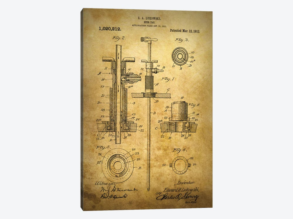 Beer Tap 1912 by Dan Sproul 1-piece Canvas Art