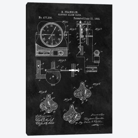 Benjamin Franklin Electric Alarm Clock Patent Sketch (Chalkboard) Canvas Print #DSP12} by Dan Sproul Art Print