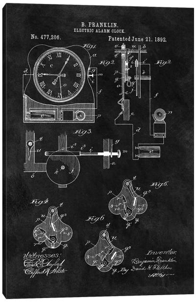 Benjamin Franklin Electric Alarm Clock Patent Sketch (Chalkboard) Canvas Art Print
