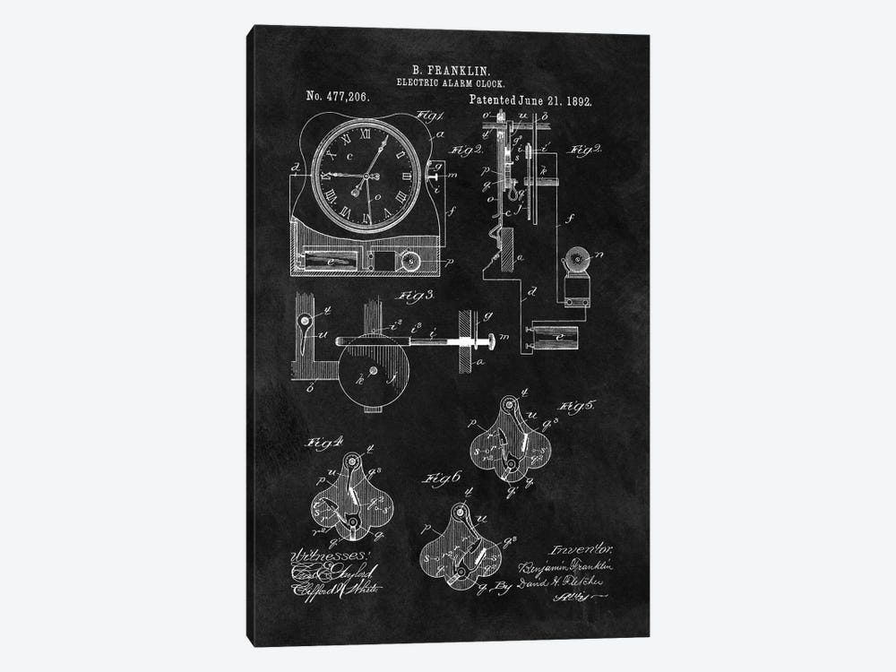 Benjamin Franklin Electric Alarm Clock Patent Sketch (Chalkboard) by Dan Sproul 1-piece Canvas Print