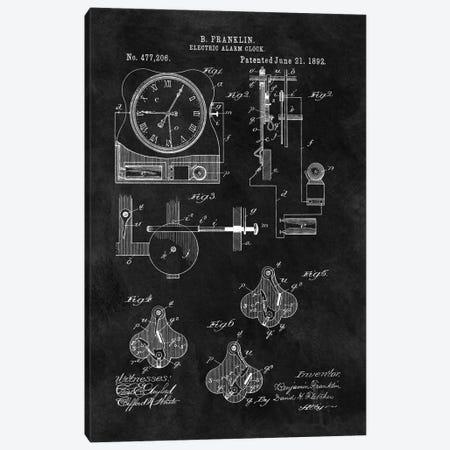 Benjamin Franklin Electric Alarm Clock Patent Sketch (Chalkboard) Canvas Print #DSP12} by Dan Sproul Art Print