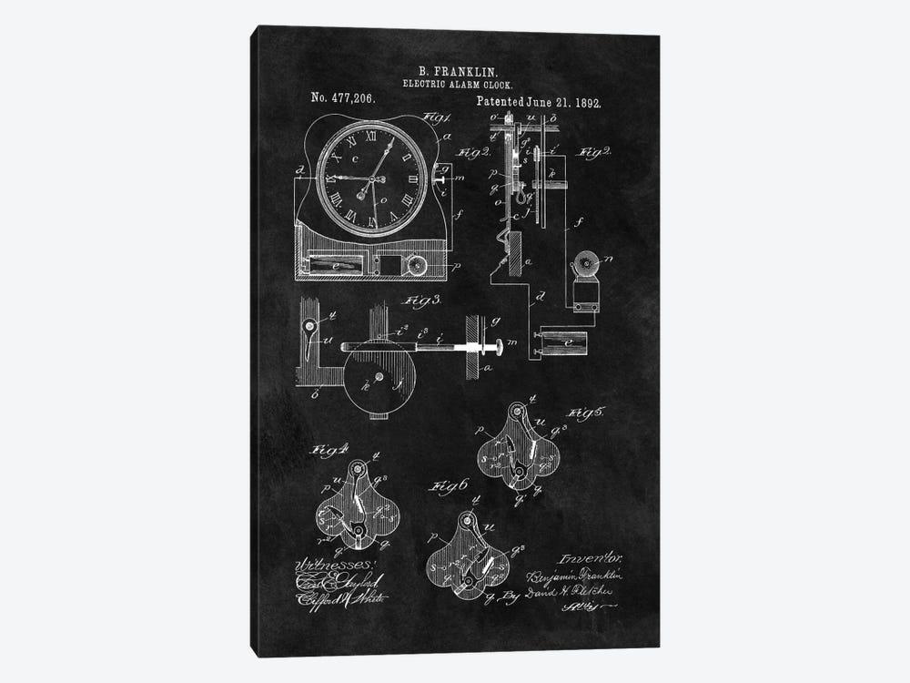 Benjamin Franklin Electric Alarm Clock Patent Sketch (Chalkboard) by Dan Sproul 1-piece Canvas Print