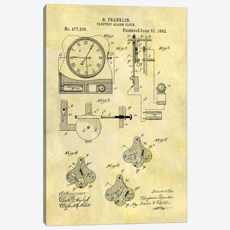 Benjamin Franklin Electric Alarm Clock Patent Sketch (Foxed) Canvas Print #DSP13} by Dan Sproul Canvas Art Print