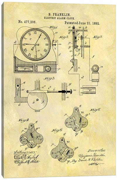 Benjamin Franklin Electric Alarm Clock Patent Sketch (Foxed) Canvas Art Print