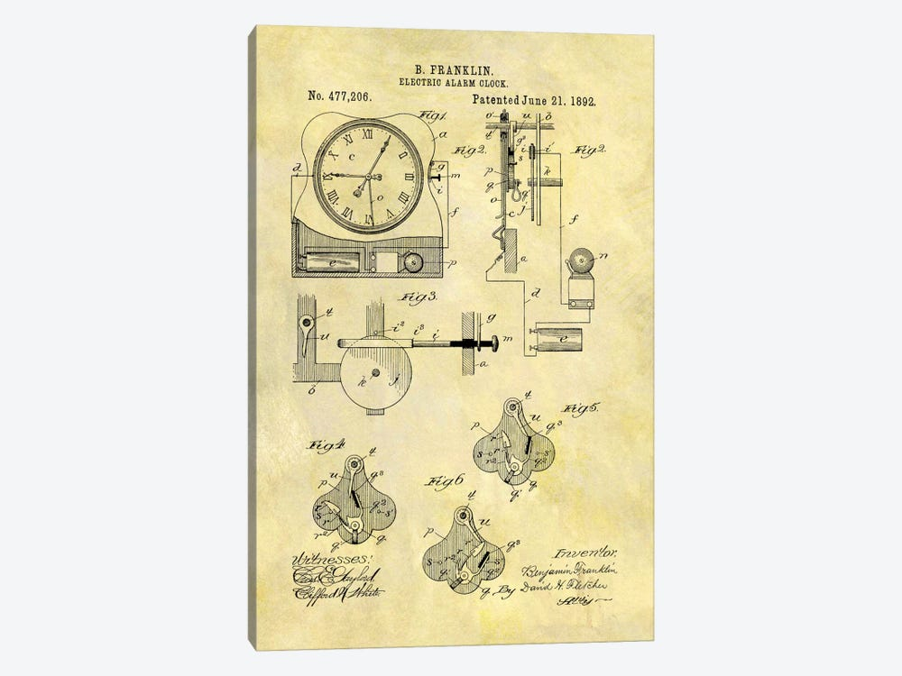 Benjamin Franklin Electric Alarm Clock Patent Sketch (Foxed) by Dan Sproul 1-piece Canvas Wall Art