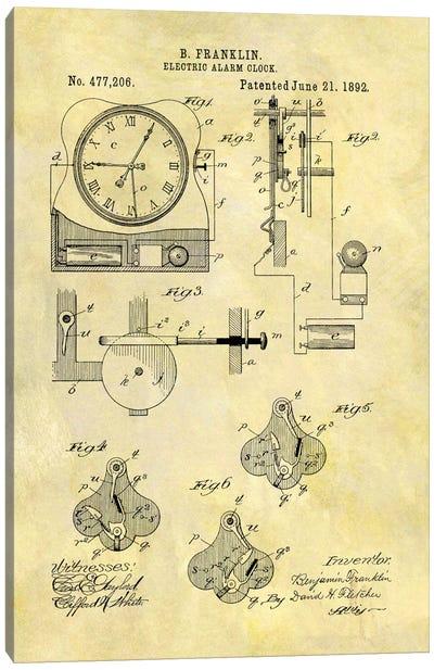 Benjamin Franklin Electric Alarm Clock Patent Sketch (Foxed) Canvas Art Print