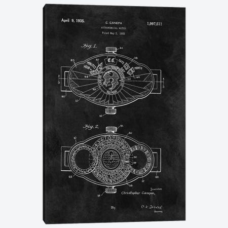 C.Canepa Astronomical Watch Patent Sketch (Chalkboard) Canvas Print #DSP14} by Dan Sproul Canvas Artwork