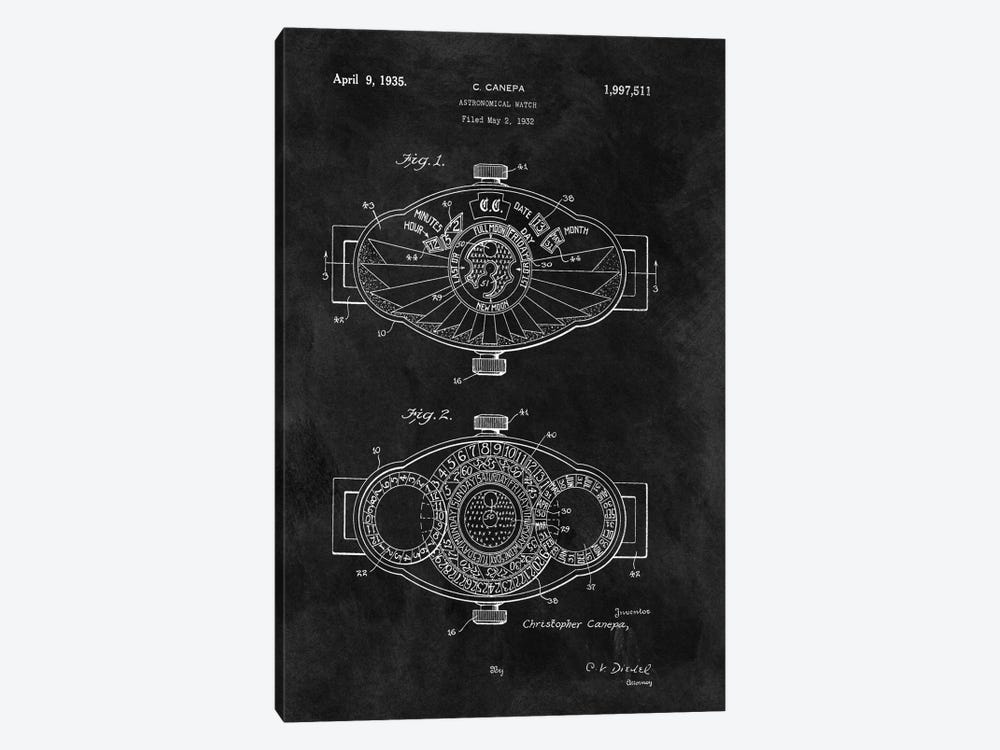 C.Canepa Astronomical Watch Patent Sketch (Chalkboard) by Dan Sproul 1-piece Canvas Art Print