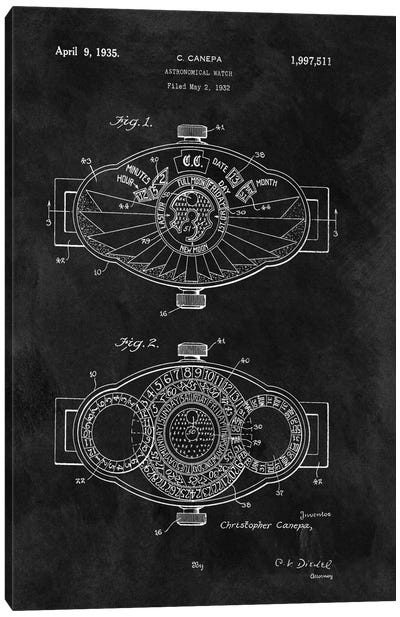 C.Canepa Astronomical Watch Patent Sketch (Chalkboard) Canvas Art Print