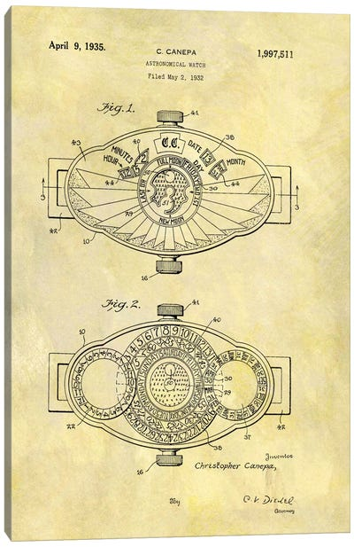 C.Canepa Astronomical Watch Patent Sketch (Foxed) Canvas Art Print