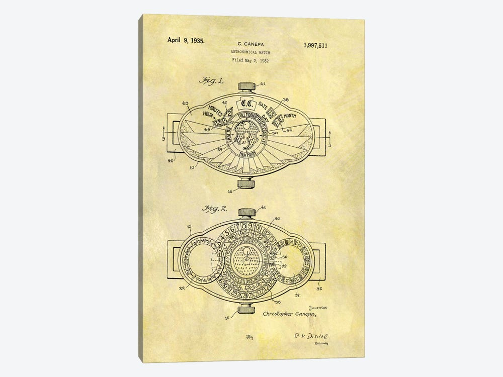C.Canepa Astronomical Watch Patent Sketch (Foxed) by Dan Sproul 1-piece Canvas Art