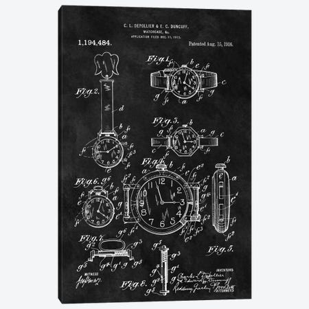 C.L. Depollier & E.C. Duncuff Watch Case Patent Sketch (Chalkboard) Canvas Print #DSP16} by Dan Sproul Canvas Artwork