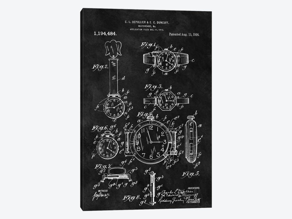 C.L. Depollier & E.C. Duncuff Watch Case Patent Sketch (Chalkboard) by Dan Sproul 1-piece Canvas Print