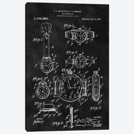 C.L. Depollier & E.C. Duncuff Watch Case Patent Sketch (Chalkboard) Canvas Print #DSP16} by Dan Sproul Canvas Artwork