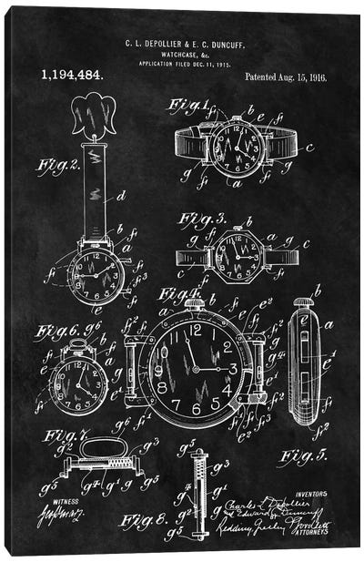 C.L. Depollier & E.C. Duncuff Watch Case Patent Sketch (Chalkboard) Canvas Art Print