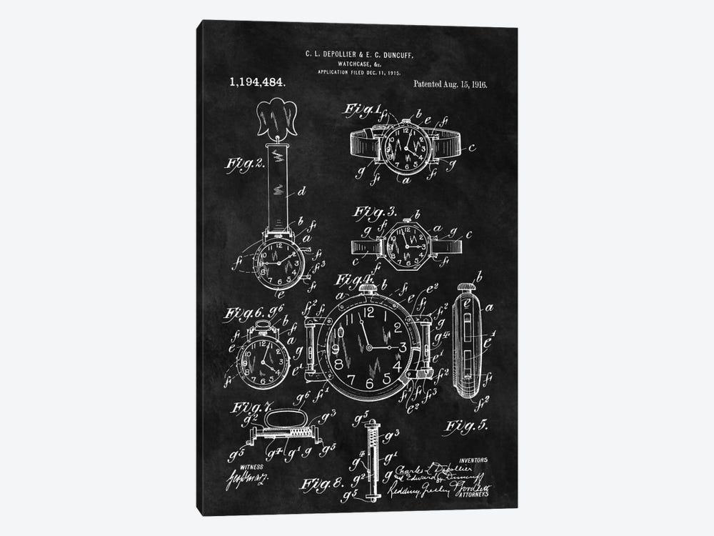 C.L. Depollier & E.C. Duncuff Watch Case Patent Sketch (Chalkboard) by Dan Sproul 1-piece Canvas Print