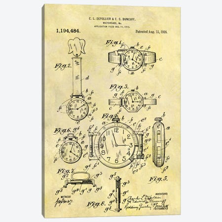 C.L. Depollier & E.C. Duncuff Watch Case Patent Sketch (Foxed) Canvas Print #DSP17} by Dan Sproul Canvas Wall Art