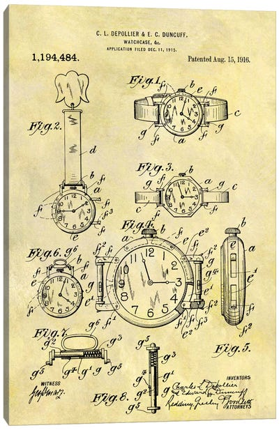 C.L. Depollier & E.C. Duncuff Watch Case Patent Sketch (Foxed) Canvas Art Print