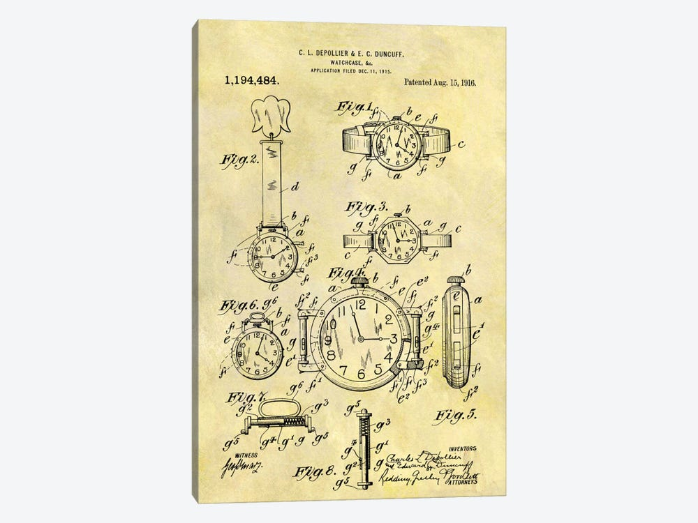 C.L. Depollier & E.C. Duncuff Watch Case Patent Sketch (Foxed) by Dan Sproul 1-piece Canvas Wall Art