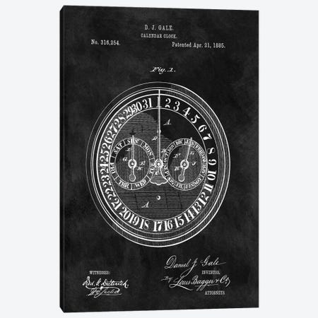 D.J. Gale Calendar Clock Patent Sketch (Chalkboard) Canvas Print #DSP18} by Dan Sproul Canvas Art Print