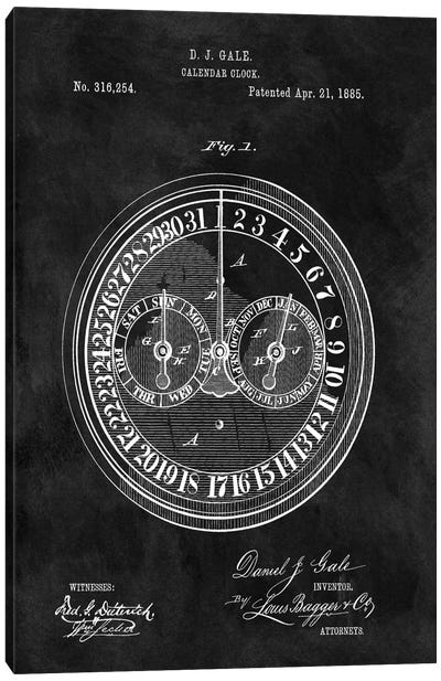 D.J. Gale Calendar Clock Patent Sketch (Chalkboard) Canvas Art Print