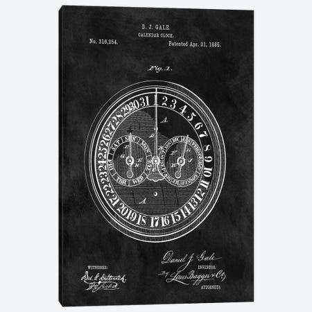 D.J. Gale Calendar Clock Patent Sketch (Chalkboard) Canvas Print #DSP18} by Dan Sproul Canvas Art Print