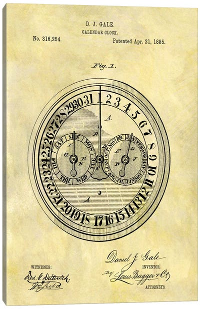 D.J. Gale Calendar Clock Patent Sketch (Foxed) Canvas Art Print
