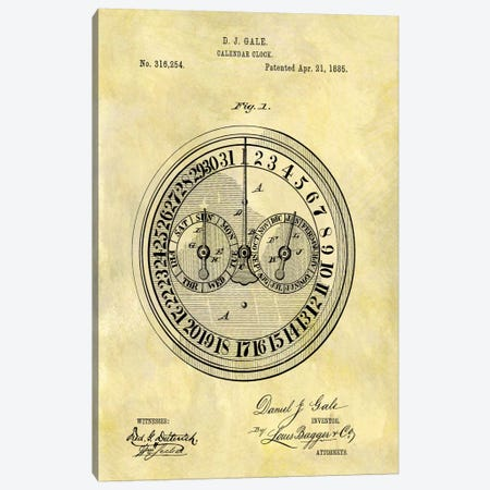 D.J. Gale Calendar Clock Patent Sketch (Foxed) Canvas Print #DSP19} by Dan Sproul Canvas Art Print