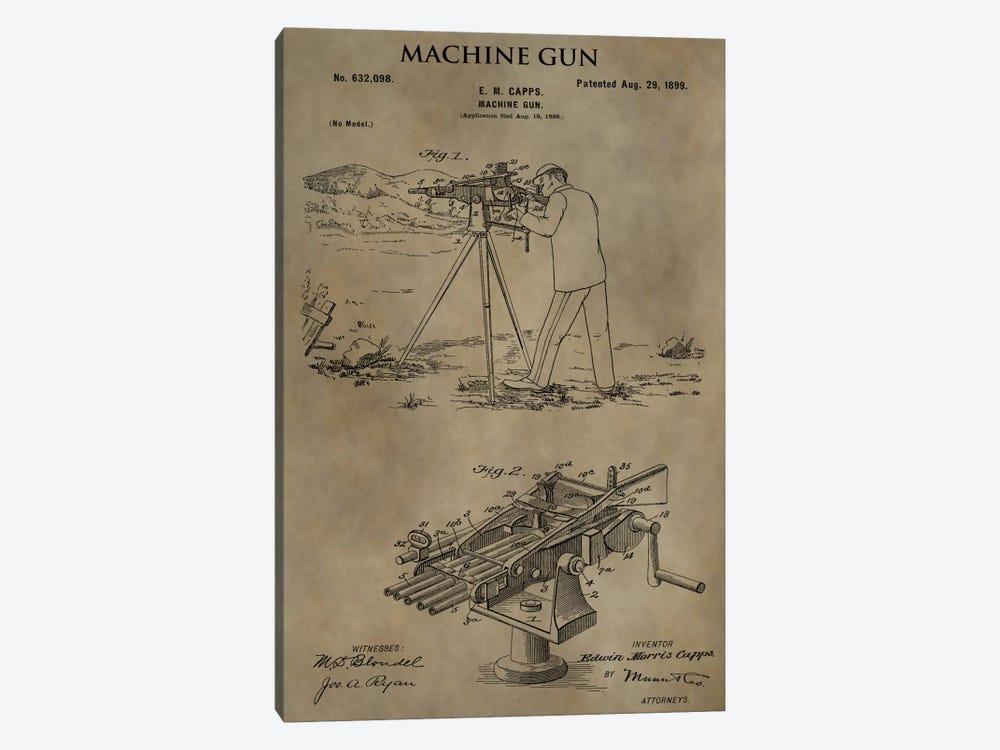E.M. Capps Machine Gun Patent Sketch (Antique) by Dan Sproul 1-piece Canvas Artwork