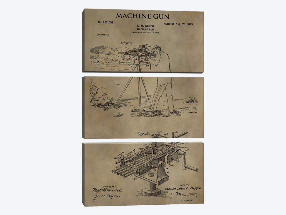 E.M. Capps Machine Gun Patent Sketch (Antique) by Dan Sproul 3-piece Canvas Wall Art