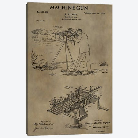 E.M. Capps Machine Gun Patent Sketch (Antique) Canvas Print #DSP20} by Dan Sproul Canvas Wall Art