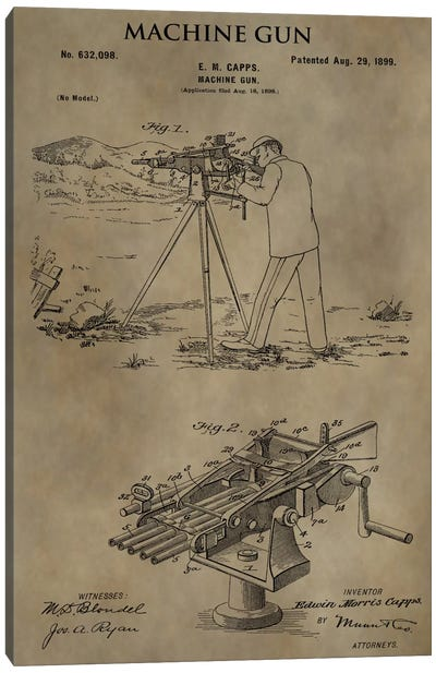 E.M. Capps Machine Gun Patent Sketch (Antique) Canvas Art Print
