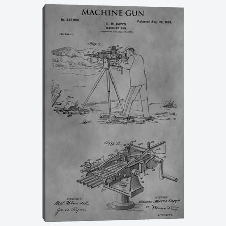 E.M. Capps Machine Gun Patent Sketch (Vintage Grey) Canvas Print #DSP21} by Dan Sproul Canvas Artwork