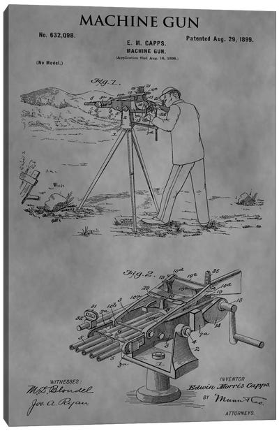 E.M. Capps Machine Gun Patent Sketch (Vintage Grey) Canvas Art Print
