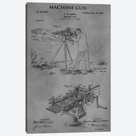 E.M. Capps Machine Gun Patent Sketch (Vintage Grey) Canvas Print #DSP21} by Dan Sproul Canvas Artwork
