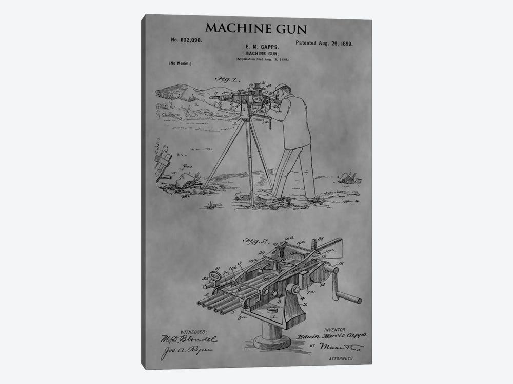 E.M. Capps Machine Gun Patent Sketch (Vintage Grey) by Dan Sproul 1-piece Art Print