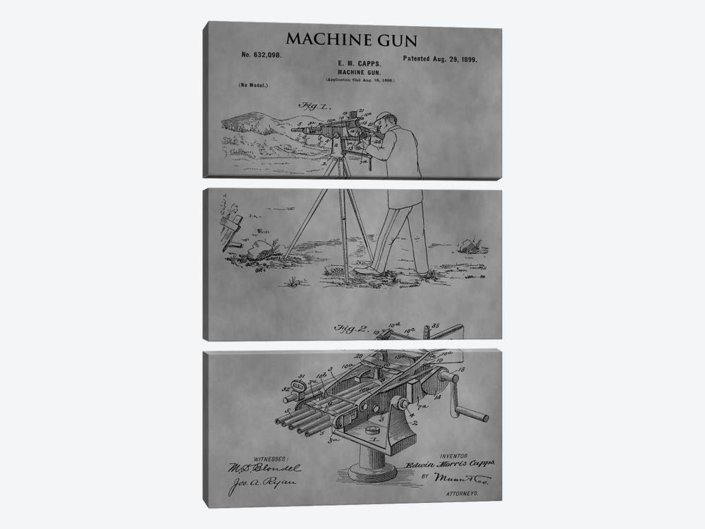 E.M. Capps Machine Gun Patent Sketch (Vintage Grey) by Dan Sproul 3-piece Art Print