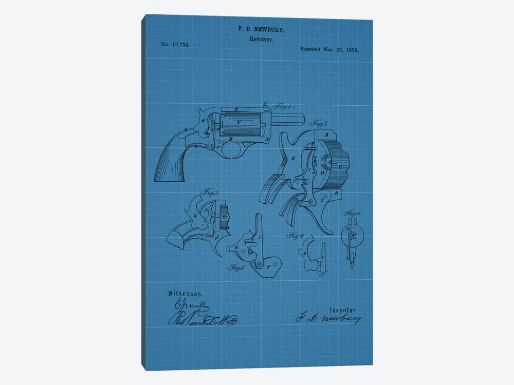 F.D. Newbury Revolver Patent Sketch (Blue Grid) 1-piece Canvas Art