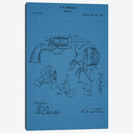 F.D. Newbury Revolver Patent Sketch (Blue Grid) Canvas Print #DSP22} by Dan Sproul Canvas Art
