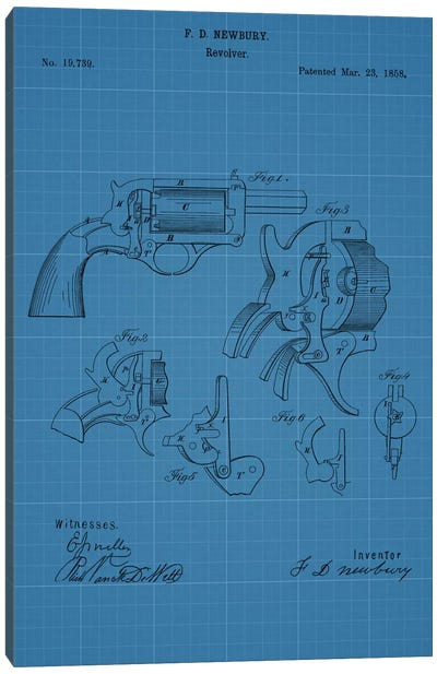 F.D. Newbury Revolver Patent Sketch (Blue Grid) Canvas Art Print