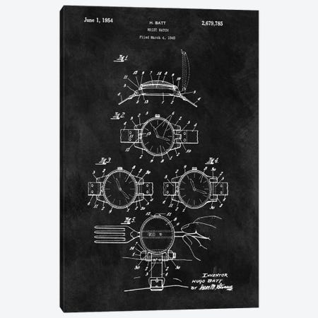 H. Batt Wrist Watch Patent Sketch (Chalkboard) Canvas Print #DSP23} by Dan Sproul Canvas Art