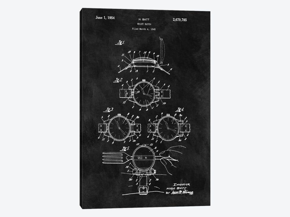 H. Batt Wrist Watch Patent Sketch (Chalkboard) by Dan Sproul 1-piece Canvas Art Print