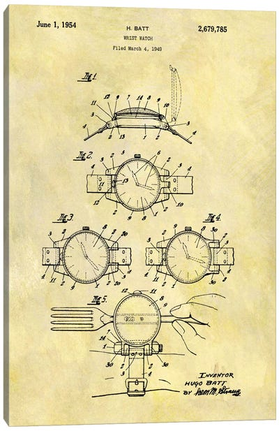 H. Batt Wrist Watch Patent Sketch (Foxed) Canvas Art Print