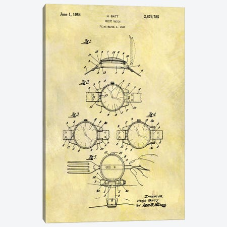 H. Batt Wrist Watch Patent Sketch (Foxed) Canvas Print #DSP24} by Dan Sproul Canvas Art Print
