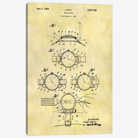 H. Batt Wrist Watch Patent Sketch (Foxed) Canvas Print #DSP24} by Dan Sproul Canvas Art Print