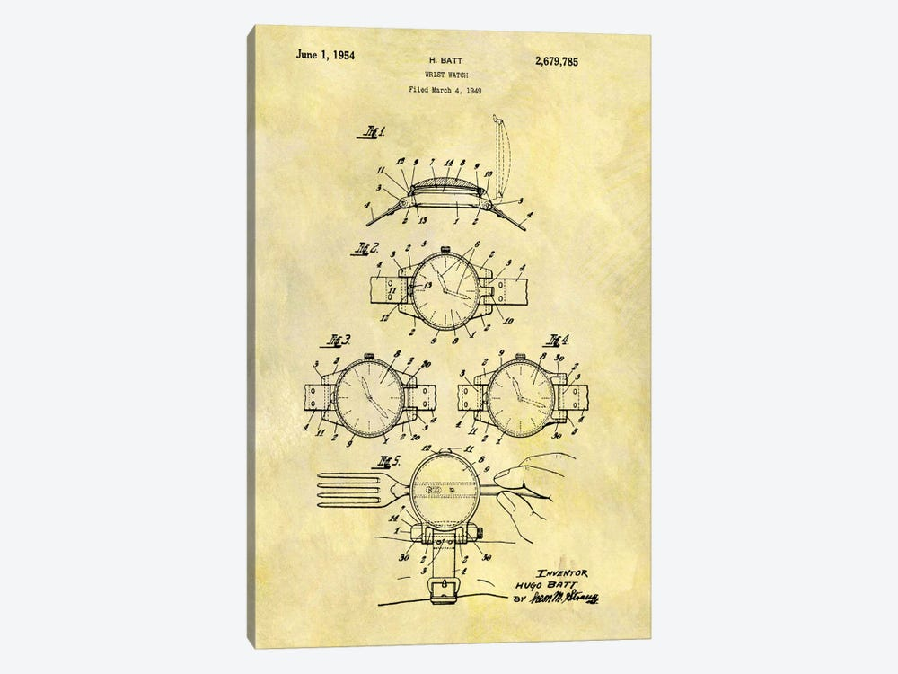 H. Batt Wrist Watch Patent Sketch (Foxed) 1-piece Canvas Art
